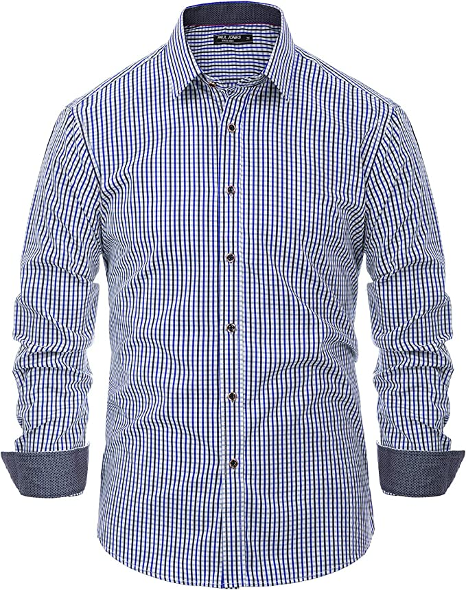 PAUL JONES Men's Western Plaid Shirt Long Sleeve Button Down Casual Shirt Blue, Medium
