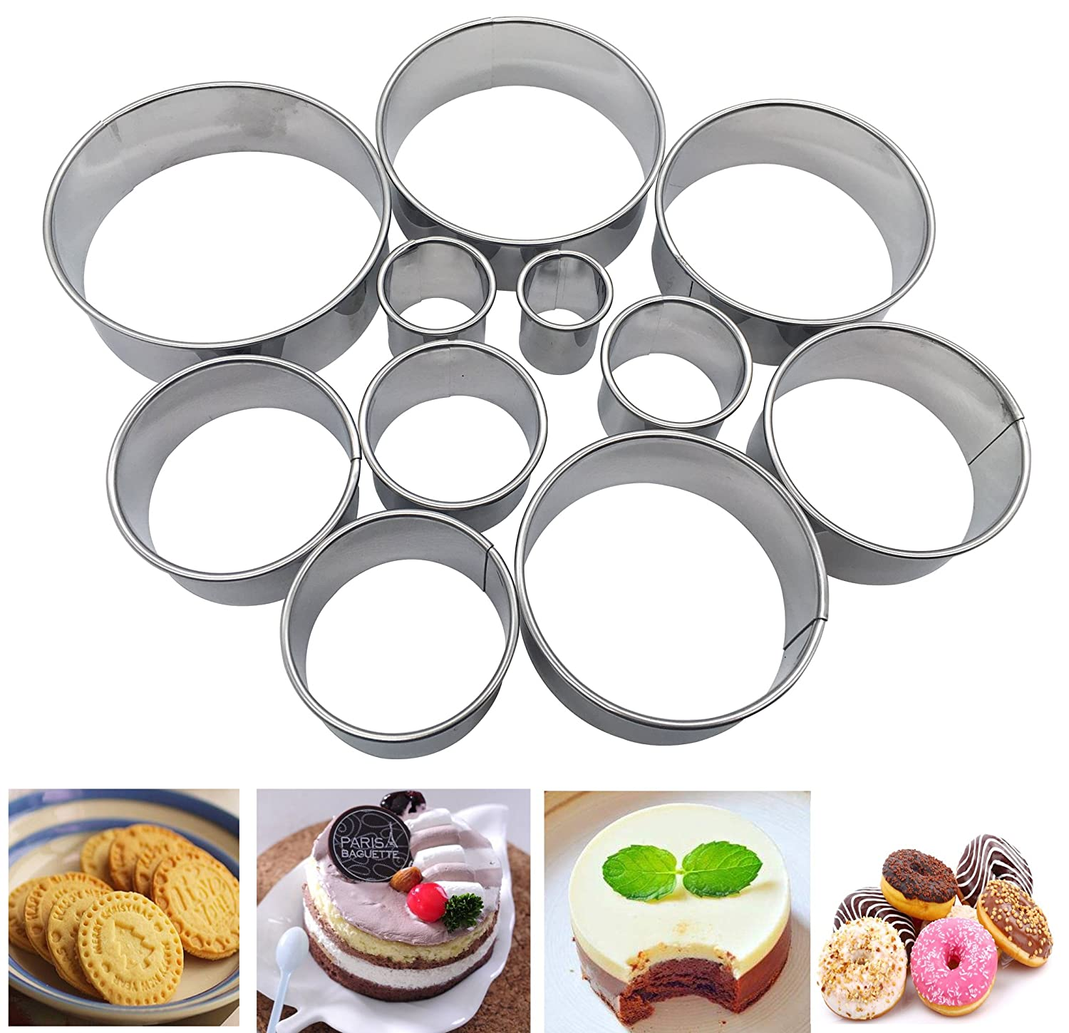 Round Cookie Biscuit Cutter Set of 11- Quality Circle Pastry Cutters - Nesting Stainless Steel Ring Cookie Cutting Set Molds for Mousse, Dough, Chocolate, Fondant, Donut and Muffins, Includes Storage Kootips-1-3029