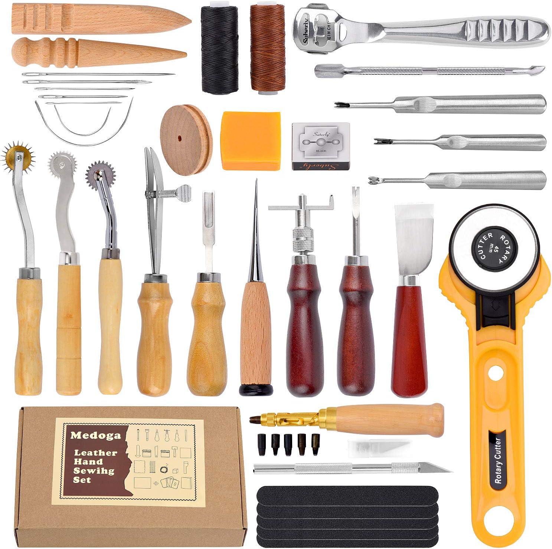 18 piezas de hilo encerado con agujas de coser a mano y punzón de perforación 150D 1 mm cable de costura manual para manualidades de cuero 37pcs Leather Sewing Tools