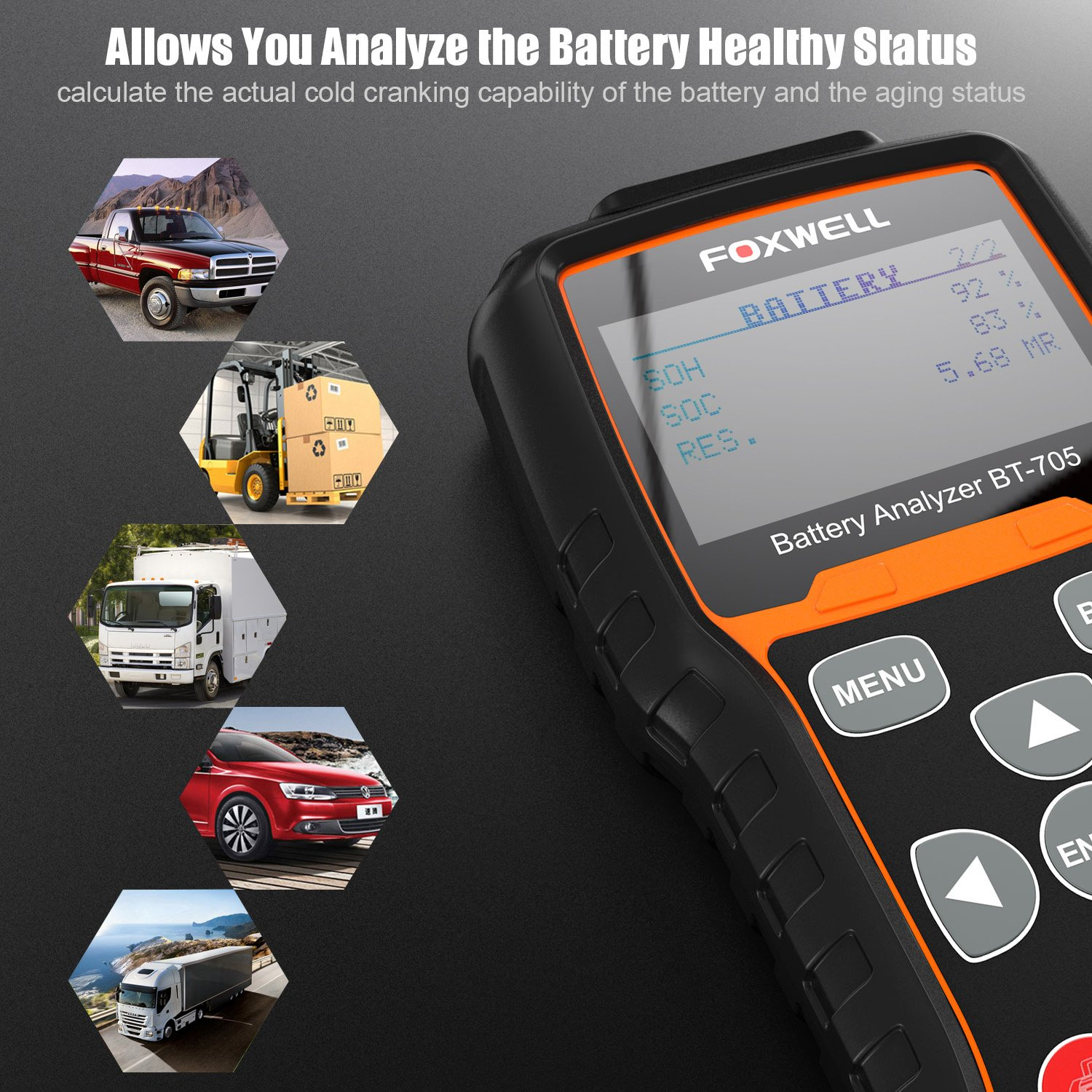 FOXWELL Battery Tester BT705 Automotive 100-2000 CCA Battery Load Tester 12V 24V Car Cranking and Charging System Test Tool Digital Battery Analyzer for Cars and Heavy Duty Trucks by FOXWELL (Image #4)