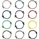 MILACOLATO 12Pcs Nautical Braided Bracelet Handmade Navy Rope Cord Bracelet Cool String Bracelet for Men Women Adjustable