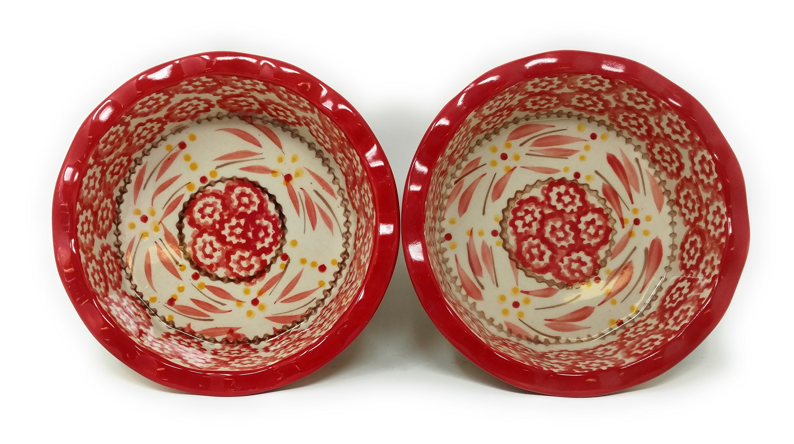 Temp-tations Set of 2 Mini Pie Pans, Deep Dish 5.75'' x 1.75'' each - Stoneware (Old World Red) by Temptations (Image #4)
