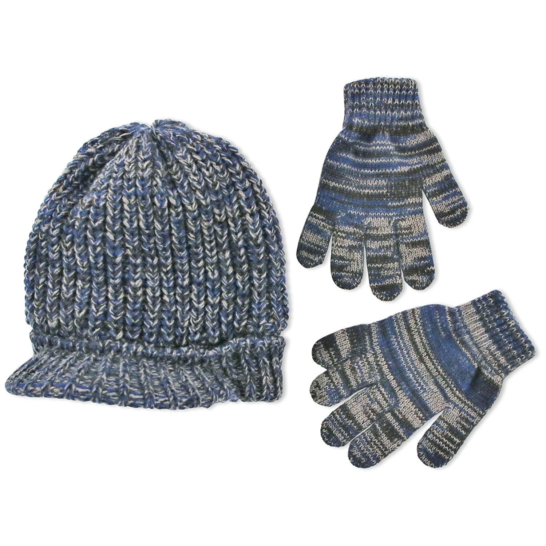 ABG Accessories Boys' Marled Knit Radar with Matching Magic Gloves Blue One Size GNF45970AZ