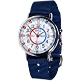 EasyRead Time Teacher Children's Watch, Minutes Past' & 'Minutes to', Red, Blue, Grey Face/Navy Blue Strap