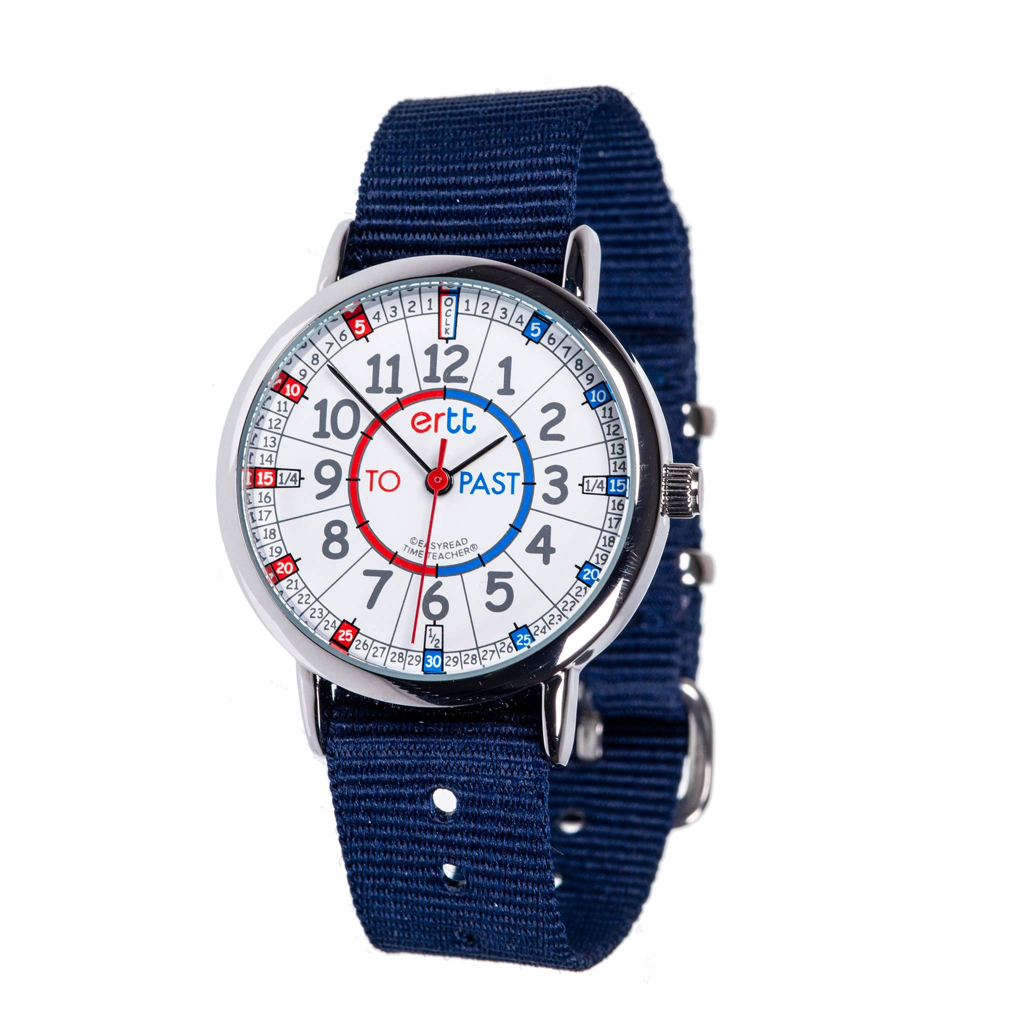 EasyRead Time Teacher Children's Watch, Red Blue Past & to Face, Navy Blue Strap by EasyRead Time Teacher
