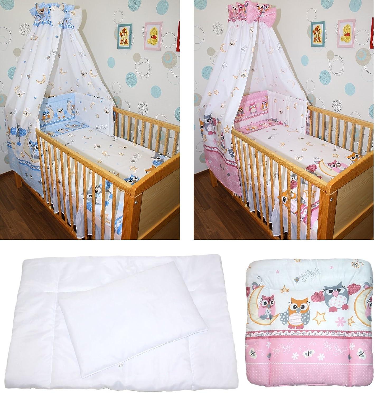 5-20 teiliges Baby Bettse mit Bettw/äsche Himmel Nestchen tEULE ROSA BLAU Blau 5 tlg