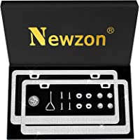 Newzon Rhinestone Bling License Plate Frames for Women Cute- 2 Pack Bedazzled Sparkle Cute Diamond Car License Plate…
