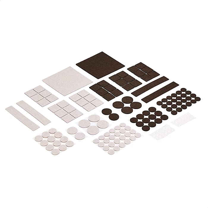 AmazonBasics Felt Furniture Pads with Transparent Noise Reduction Bumpers, Beige and Brown, 166 pcs