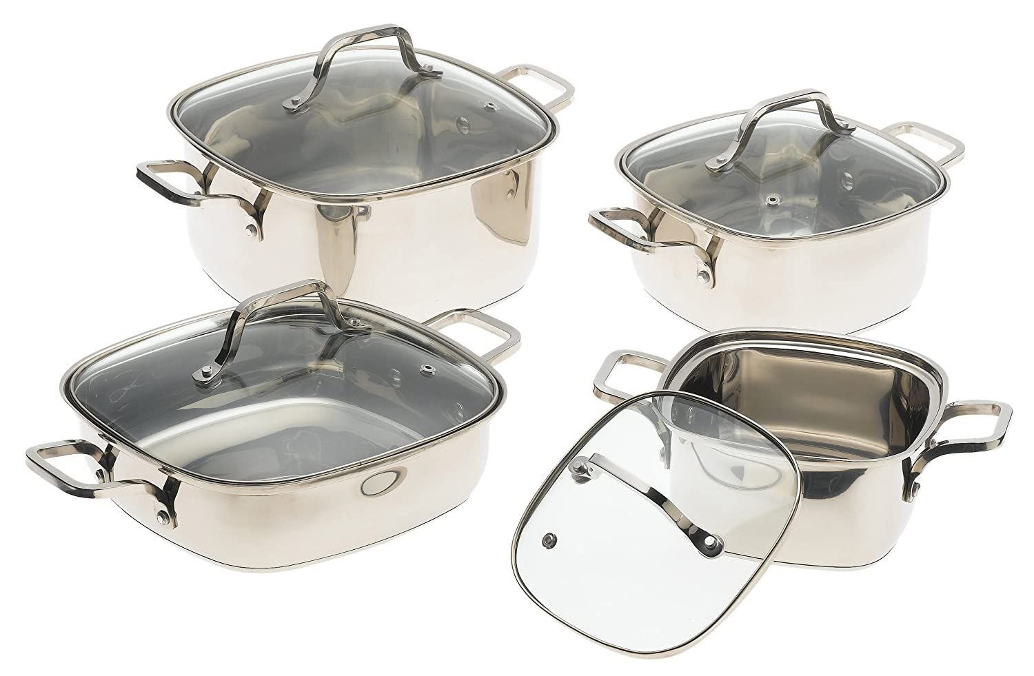 Amazon.com: Prime Cookware 8 Piece Square Stainless Steel Cookware ...