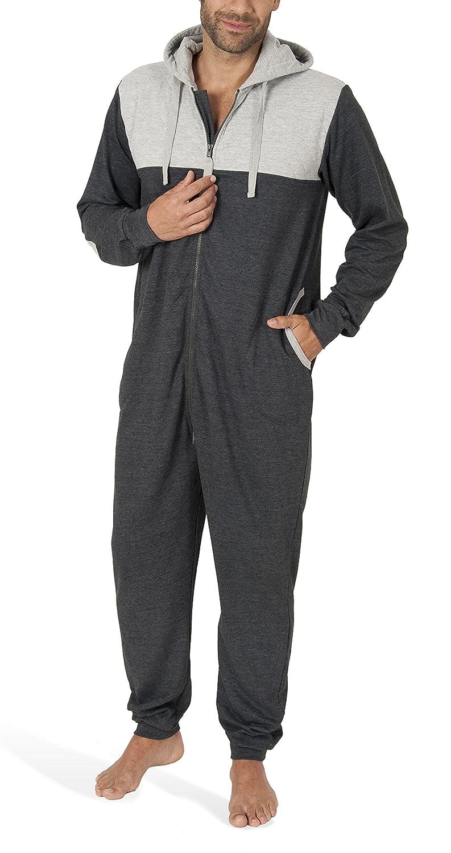 tuta intera da uomo a maniche lunghe Tuta jumpsuit uomo in cotone SLOUCHER monopezzo confortevole con cerniera e cappuccio