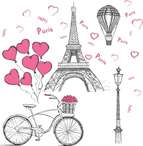 Paris Wall Stickers Eiffel Tower - Wall Decal Vinyl Eiffel Tower Decoration Removable Self-Adhesive Mural Gift Living Room Background Wall Decoration Kitchen Office Girl Room 11.8 × 35.4 Inch