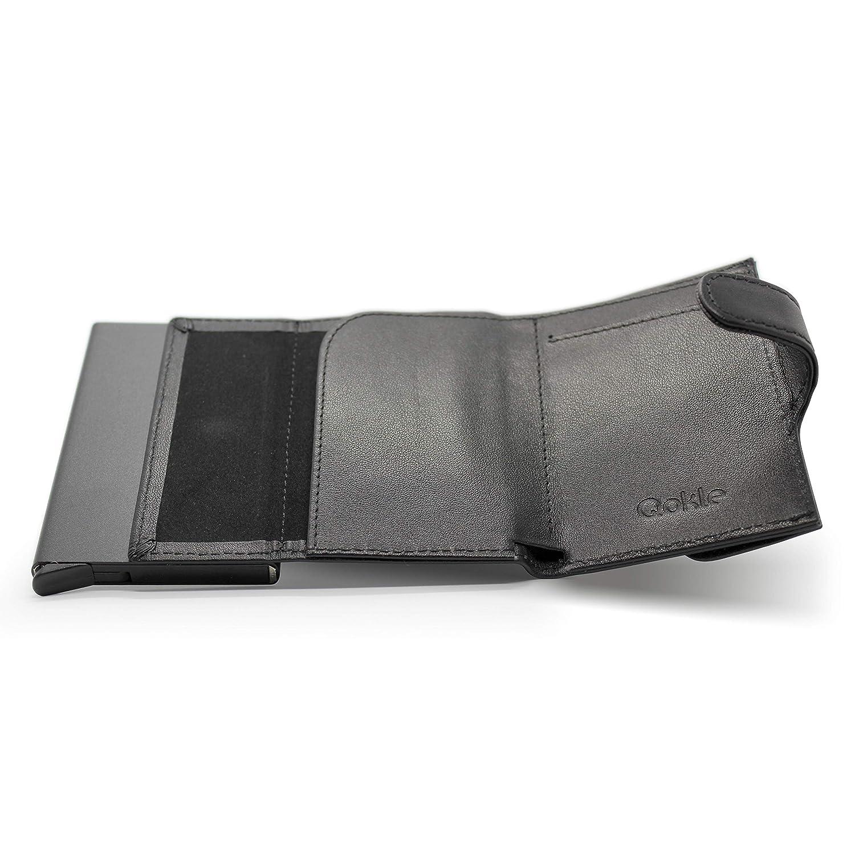 Un Portefeuille Complet Portefeuille Protection RFID pour Homme /Éjecteur de Carte de Qokle Parfait pour Le Voyage /Étui Porte Carte Rigide Cuir V/éritable Design Slim avec Portemonnaie