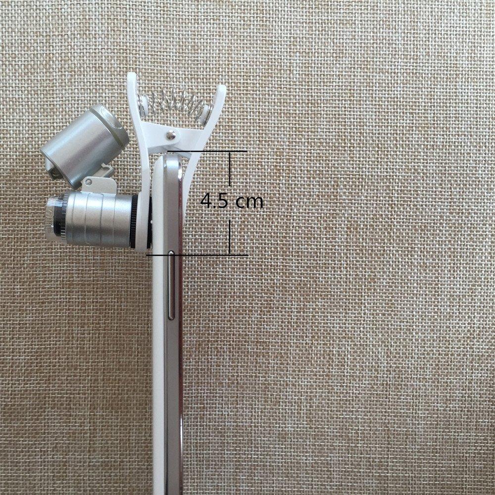 60x Zoom /óptico Lente del Microscopio para Tel/éfono M/óvil con Clip Universal