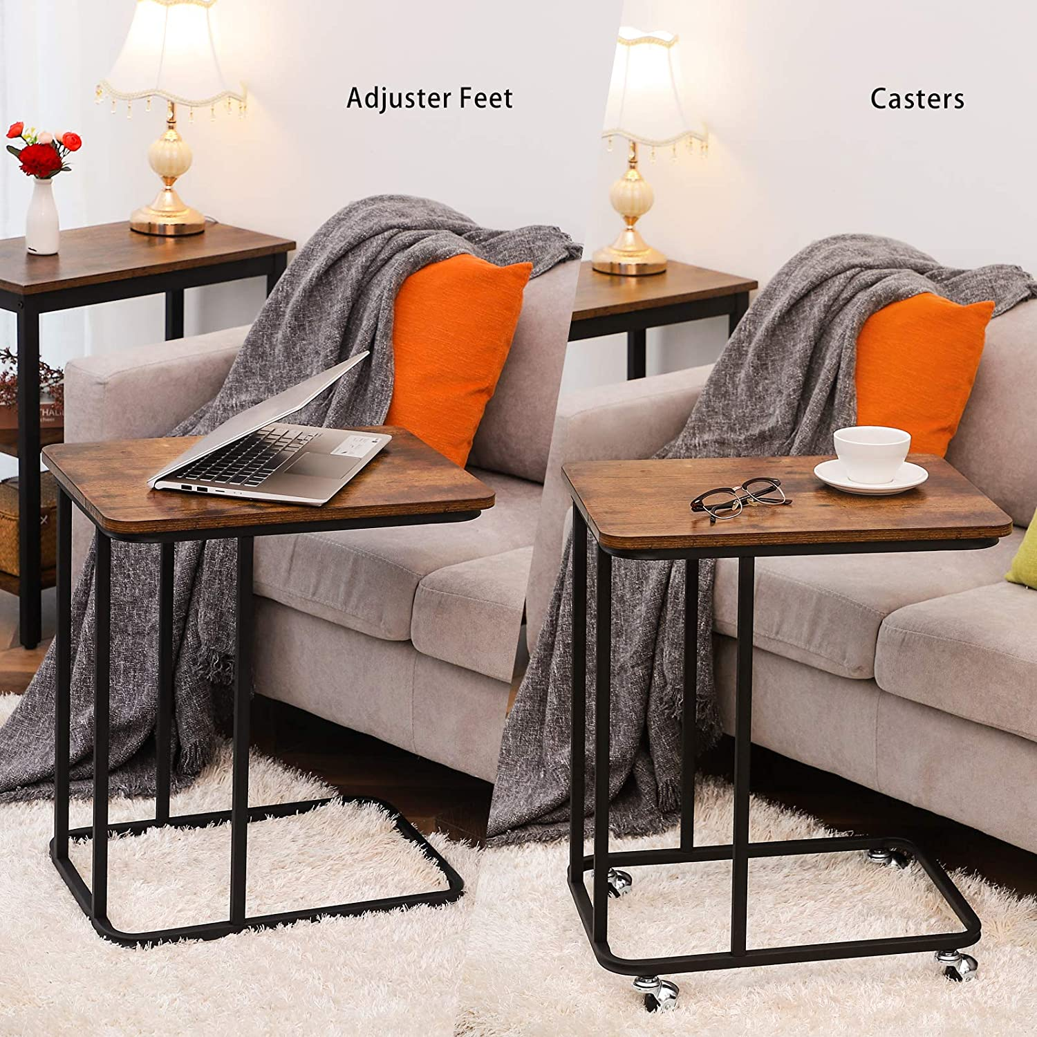 Industrial Mobile Snack Table for Coffee Laptop Tablet Slides Next to Sofa Couch Bedroom Easy Assembly for Living Room HOOBRO Side Table Wood Look Accent Furniture EBF01SF01 Space Saving