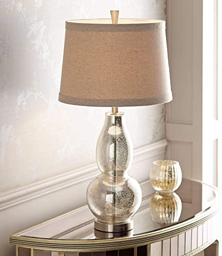 Modern Table Lamp Mercury Glass Silver Double Gourd Natural Linen Drum Shade