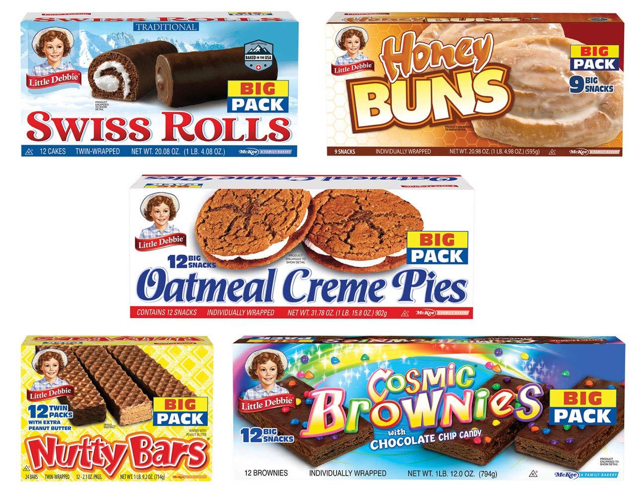 Little Debbie School Snacks Big Pack (5boxes): Honey Buns, Cosmic Brownies, Oatmeal Pies, Nutty Bars, Swiss Rolls by lil deb (Image #1)