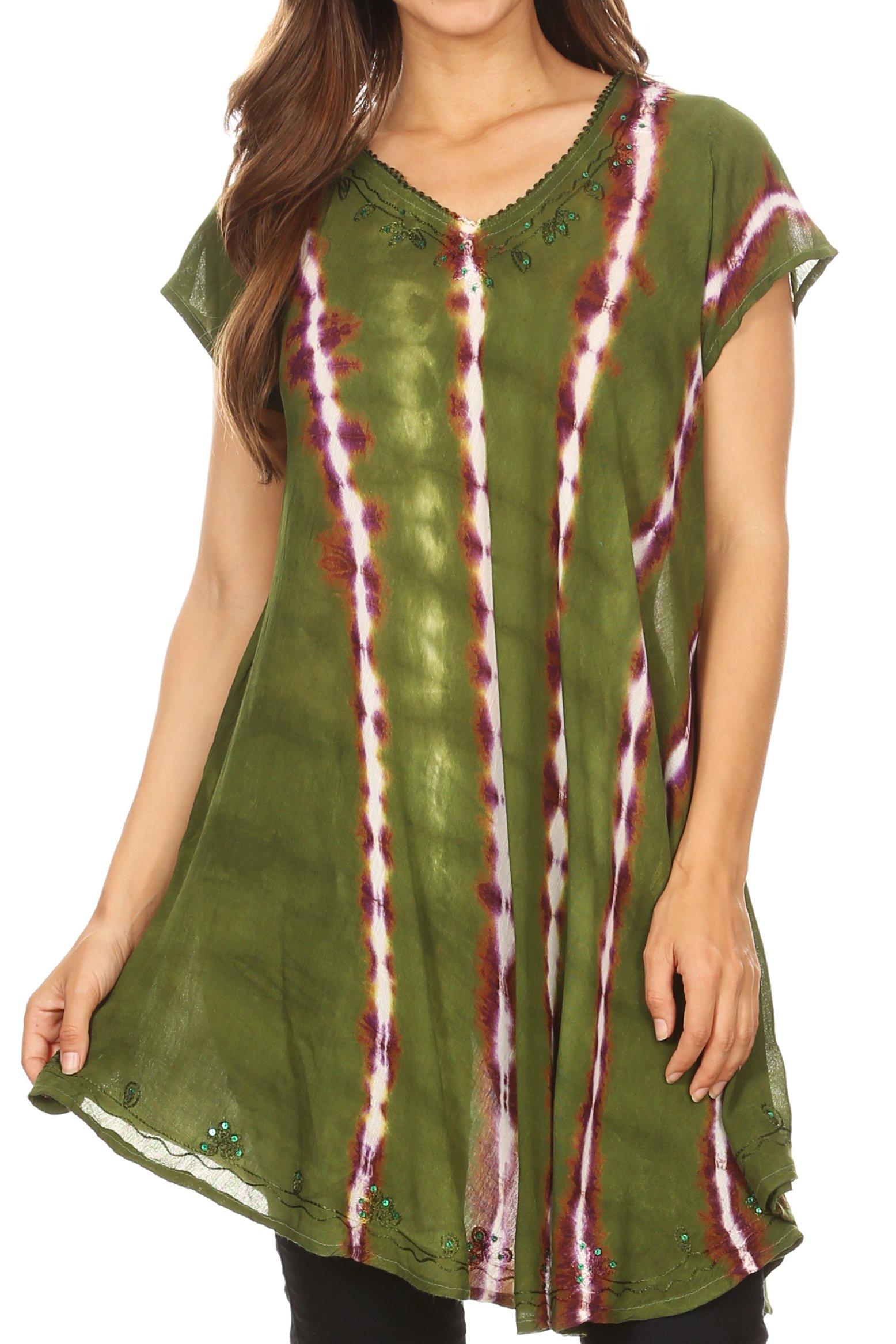 Sakkas 18702 - Maite Womens Tie Dye V Neck Tunic Top Ethnic Summer Style Flowy w/Sequin - Green - OSP by Sakkas