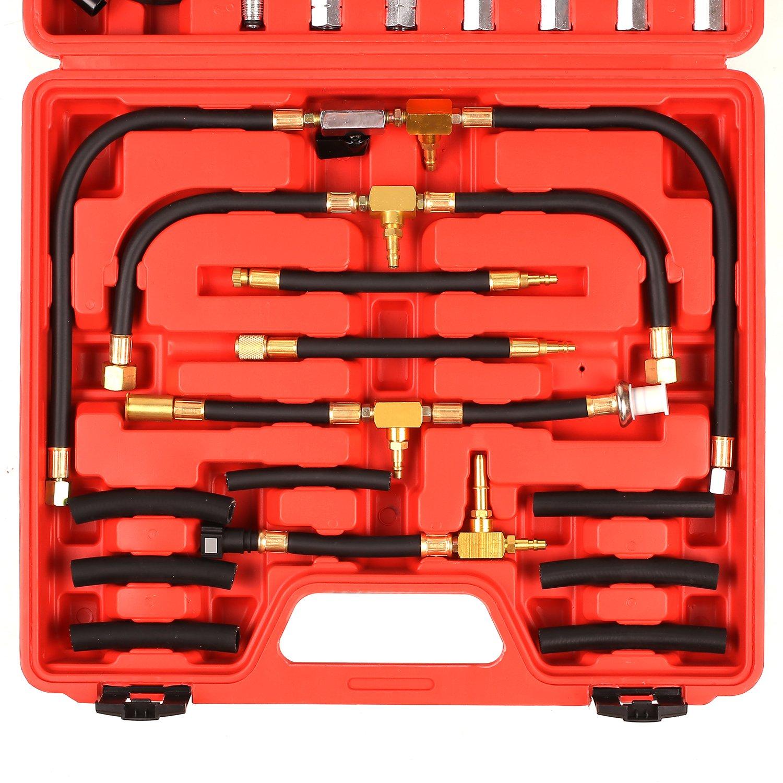 FIXKIT Kit de Medidor de Presión de Combustible Manómetro de Presión para Coche Herramientas de Probador de Presión para Coche con Maleta Roja: Amazon.es: ...