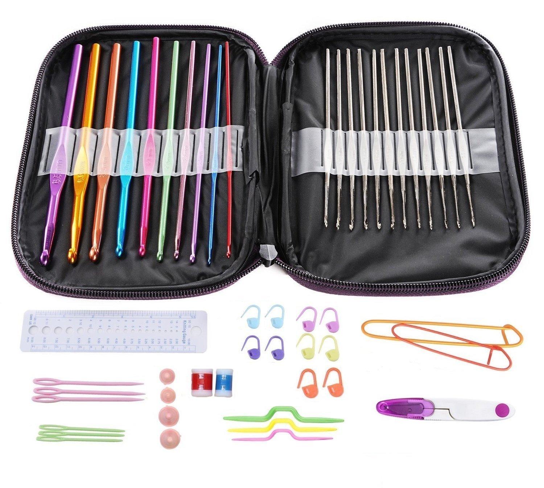 ELINKA Crochet Hooks Mixed Aluminum Handle Knitting Knit Needles Sewing Tools Full Set Knit Gauge Scissors Stitch Holders Weave Yarn Set of 51pcs by ELINKA (Image #2)