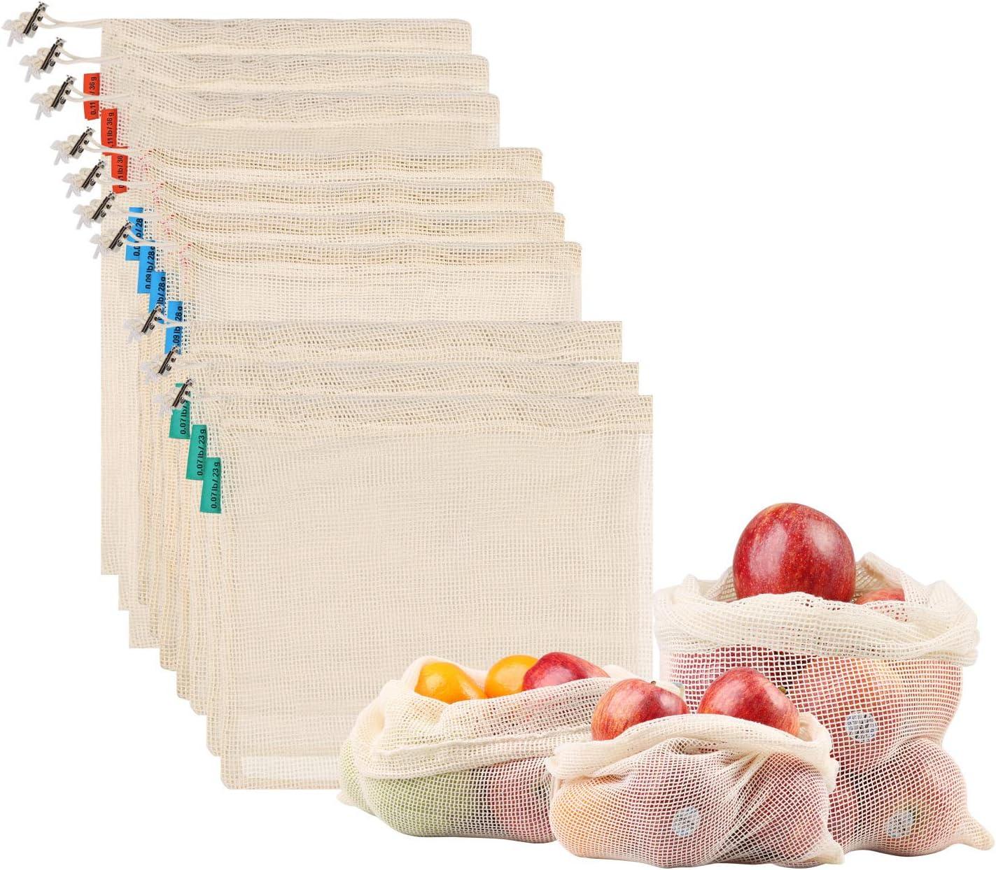 NEWSTYLE Bolsa de Producción Reutilizable,Juego de 10 Bolsas de Malla Reutilizables Perfectas para Productos Frescos, Frutas y Verduras,Lavable y Libre de BPA, 3 Tamaños (3*S, 4*M, 3*L): Amazon.es: Juguetes y juegos