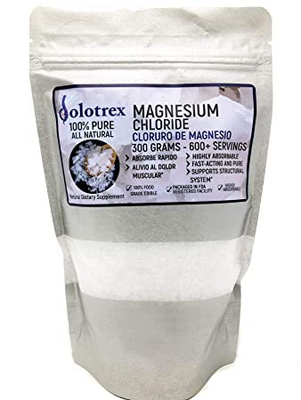 Cloruro de Magnesio 100% Pure Magnesium Chloride Food Grade 300 Grams Edible Magnesium Highly Absorbable