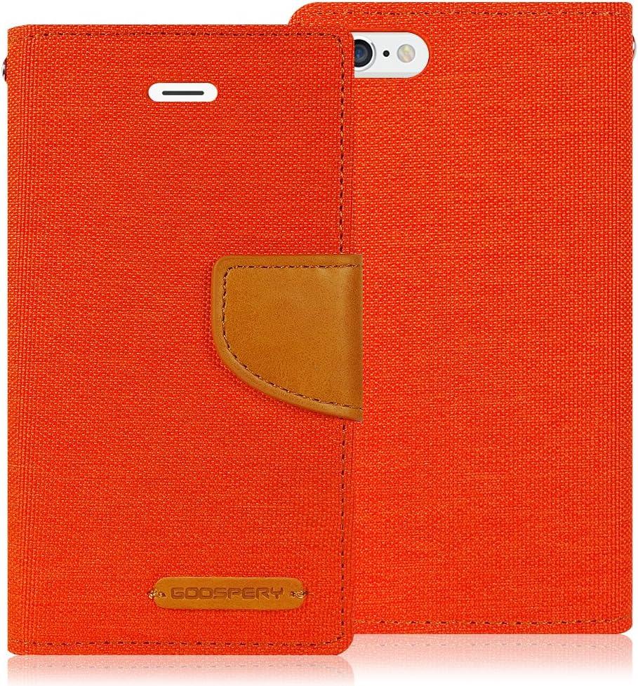 Goospery Canvas Wallet for Apple iPhone 6S Plus Case (2015) iPhone 6 Plus Case (2014) Denim Stand Flip Cover (Orange) IP6P-CAN-ORG