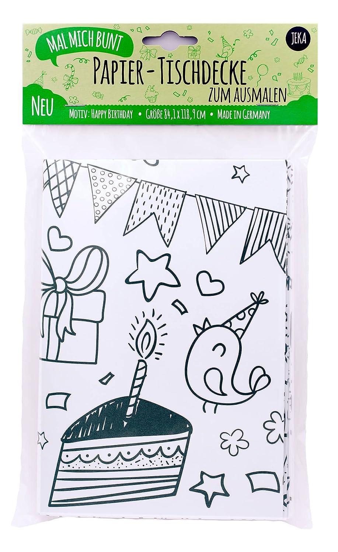 Mal Mich Bunt Ausmal-Tischdecke aus Papier I Motiv Happy Birthday I Idee für Kindergeburtstag I Kinderspiele I Kinderbeschäftigung I Ausmalen I JEKA Papier und Spielwaren