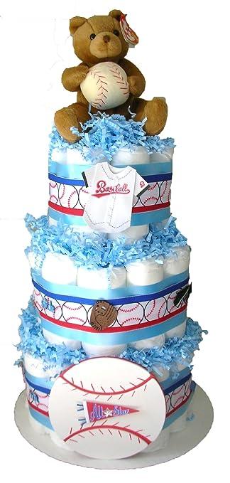 Amazon.com: Tarta de pañales de béisbol Baby Shower regalo ...