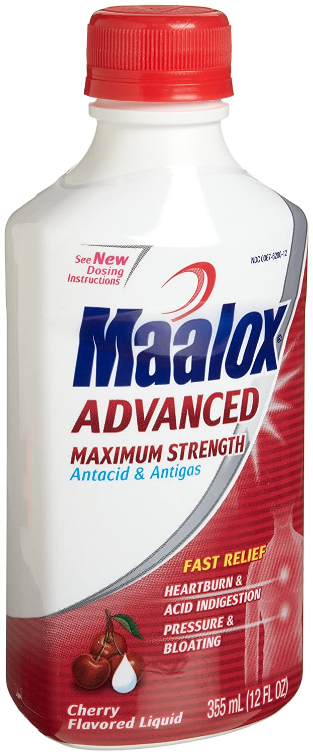 Amazon.com: Maalox Advanced Maximum Strength Antacid & Antigas, Cherry Flavored Liquid, 12-Ounce Bottles (Pack of 2): Health & Personal Care