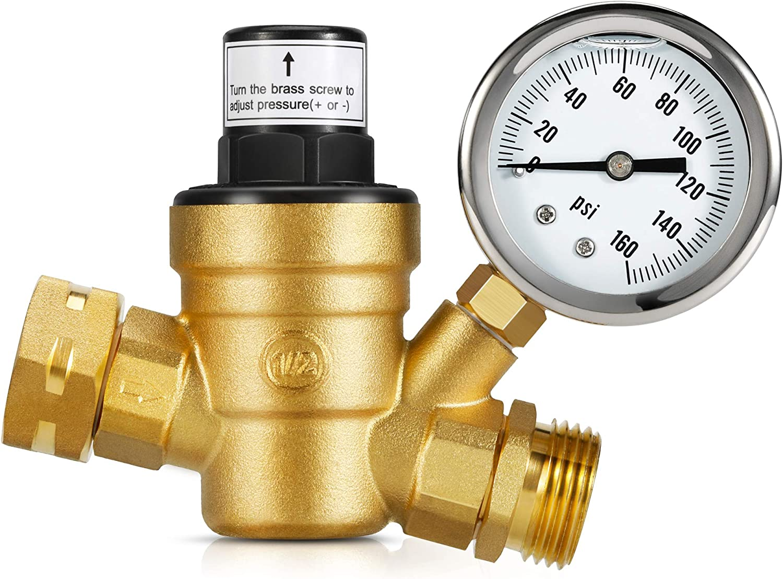 Travel Trailer Lead Free Water Pressure Regulator Valve 3//4 Inch For RV Camper