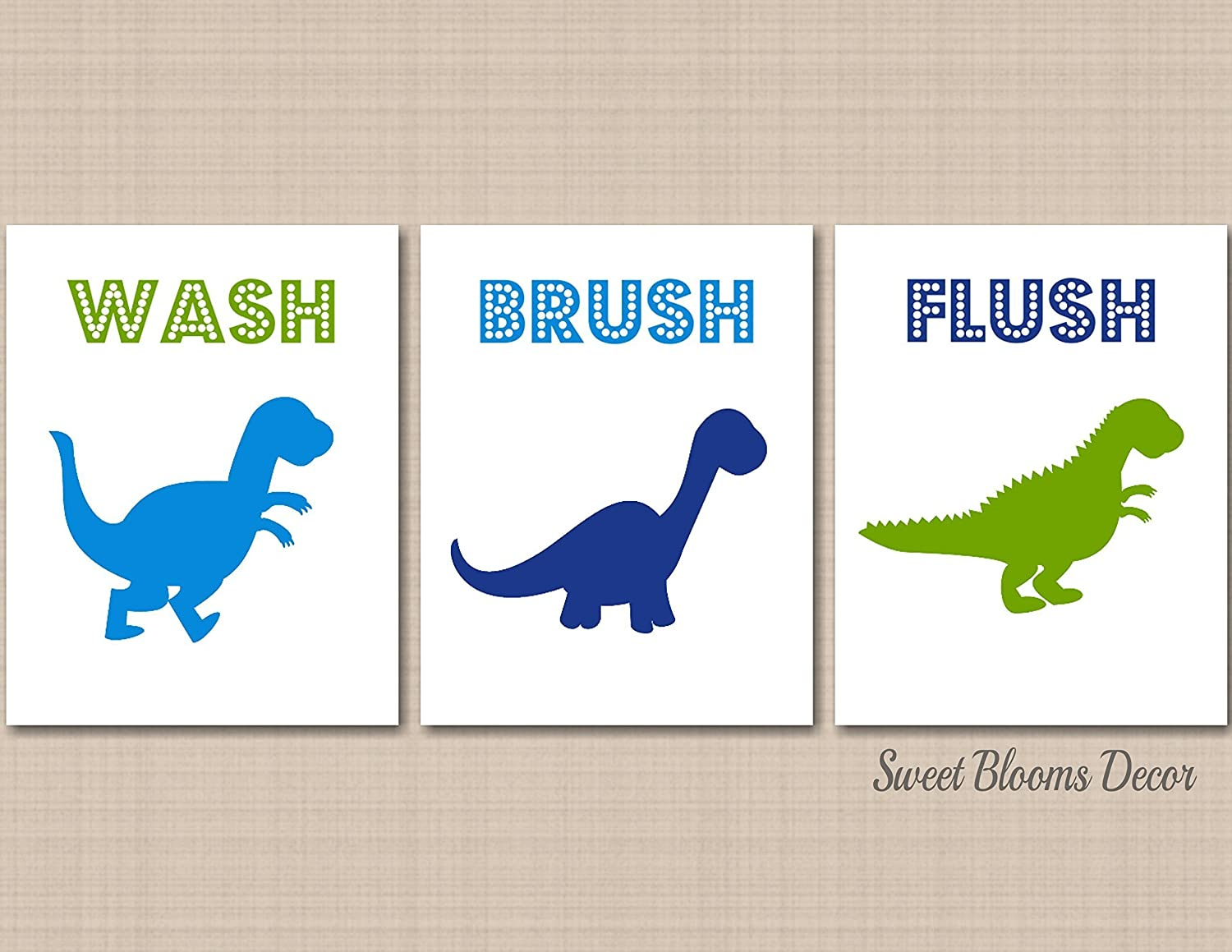 B115 Not Canvas Dinosaur Bathroom Wall Art Dino Park Bath Dinosaur Bathroom Decor Blue Green Dinosaur Bathroom Wall Art Dinosaur Wall Art Unframed Set Of 3 Prints Home Decor Home Kitchen