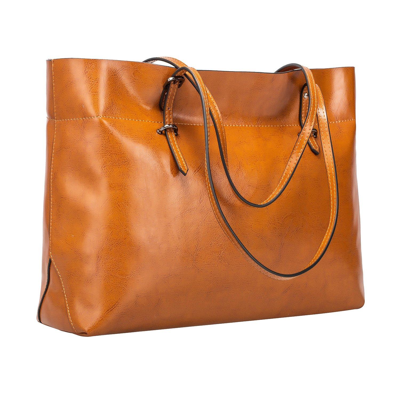 S-ZONE Women's Vintage Genuine Leather Tote Shoulder Bag Handbag Upgraded Version (Brown)
