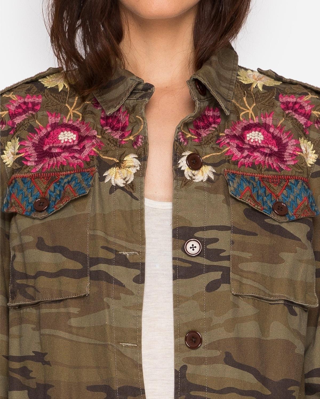 Johnny Was Women's Camo Rialto Military Jacket Camouflage Small