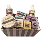 Pamper Yourself Spa Gift Baskets for Women | Gluten-Free Vegan 10 Piece Gift Set Includes Organic Body Bars, Hand Soap…