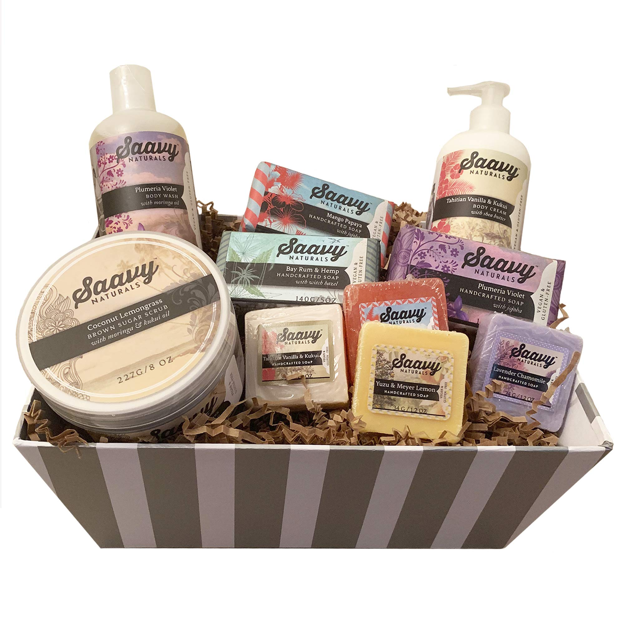 Spa Gift Baskets for Women | Gluten-Free Vegan 10 Piece Gift Set Includes Organic Body Bars, Hand Soap, Moisturizing Cream, Body Wash, Sugar Scrub by Saavy Naturals