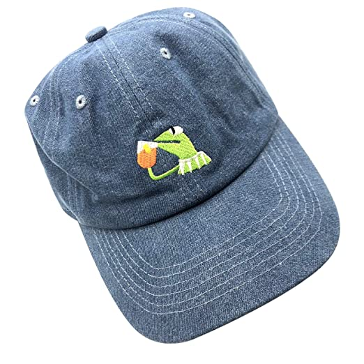 7e5e529429b Image Unavailable. Image not available for. Color  Kermit The Frog Dad Hat  Baseball Cap Sipping Sips Drinking Tea Champion Adjustable Blue