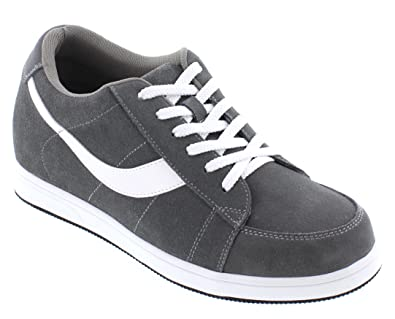 ff6cab87507db Toto Men's Invisible Height Increasing Elevator Shoes - Gray Lace-up Suede  Leather Sneakers - 2.8 Inches Taller - A1911