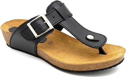 Morxiva Damen Echt Leder Sandaletten mit Leder Fußbett, Kork Sohle und 4 cm Keilabsatz schöne Bequeme stilvolle Mädchen Frauen Sommer Sandalen