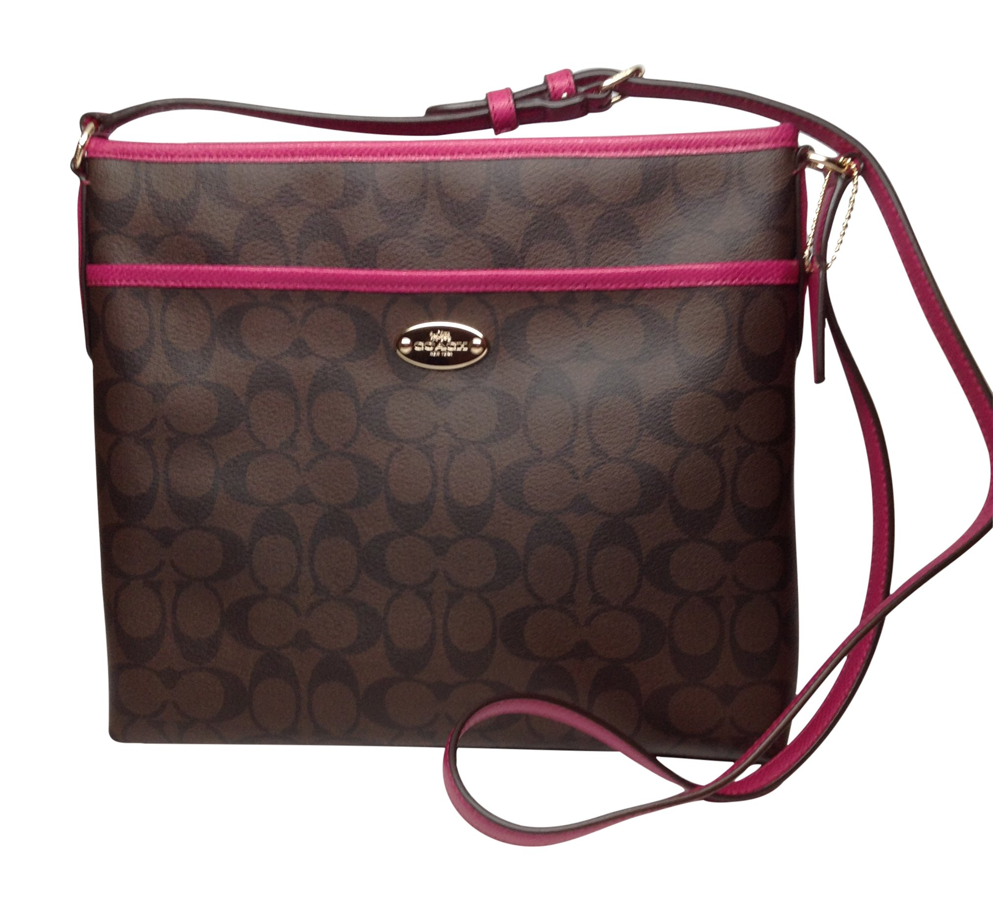 Coach Signature File Bag - Brown/Fuchsia