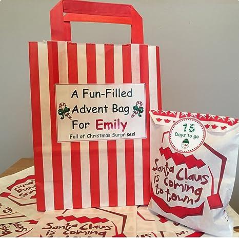 Personalizada de Adviento calendario bolsa Plus 24 bolsas de ...