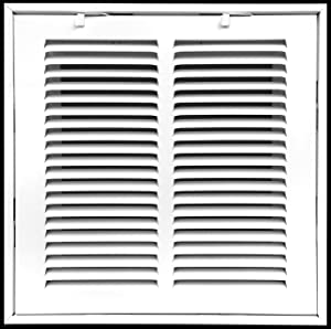"""12"""" X 12"""" Steel Return Air Filter Grille for 1"""" Filter - Fixed Hinged - Ceiling Recommended - HVAC Duct Cover - Flat"""" Stamped Face - White [Outer Dimensions: 14.5 X 13.75]"""