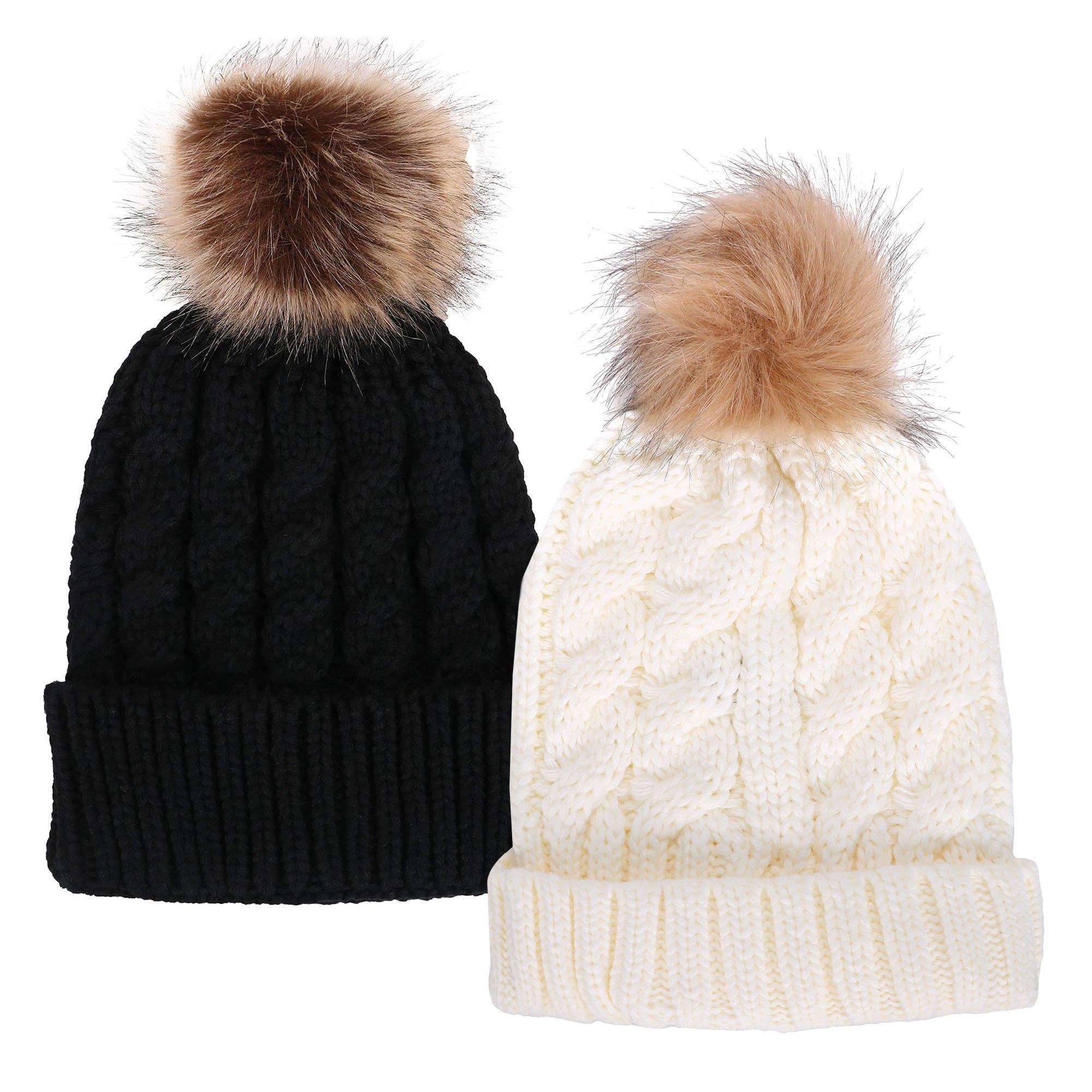 Simplicity Unisex Winter Hand Knit Faux Fur Pompoms Beanie 2 Pc Set Black/White