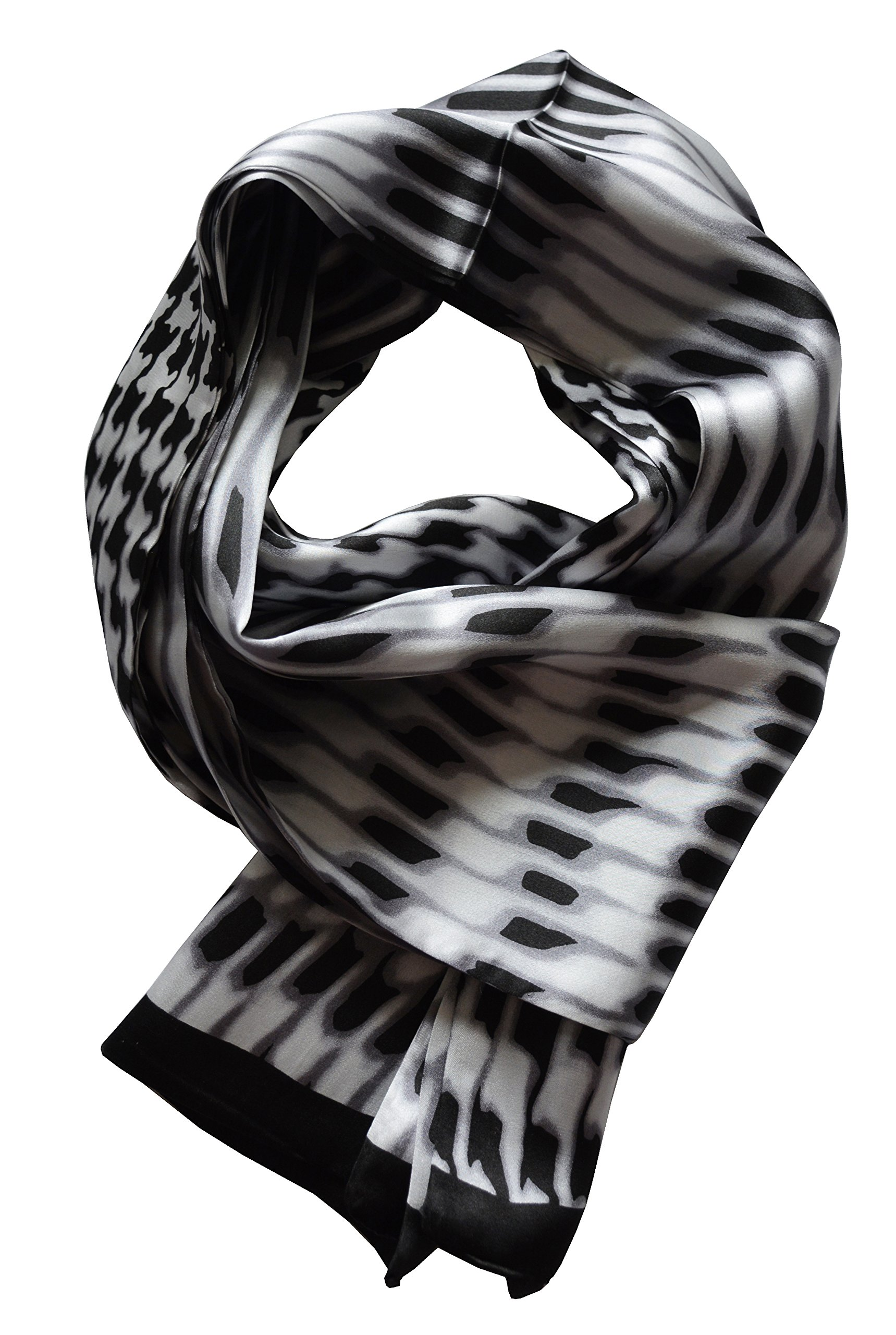 YSSP, BW houndstooth 2 63'' x 11'' Man's 100 Pure silk scarf wrap Accessory gift