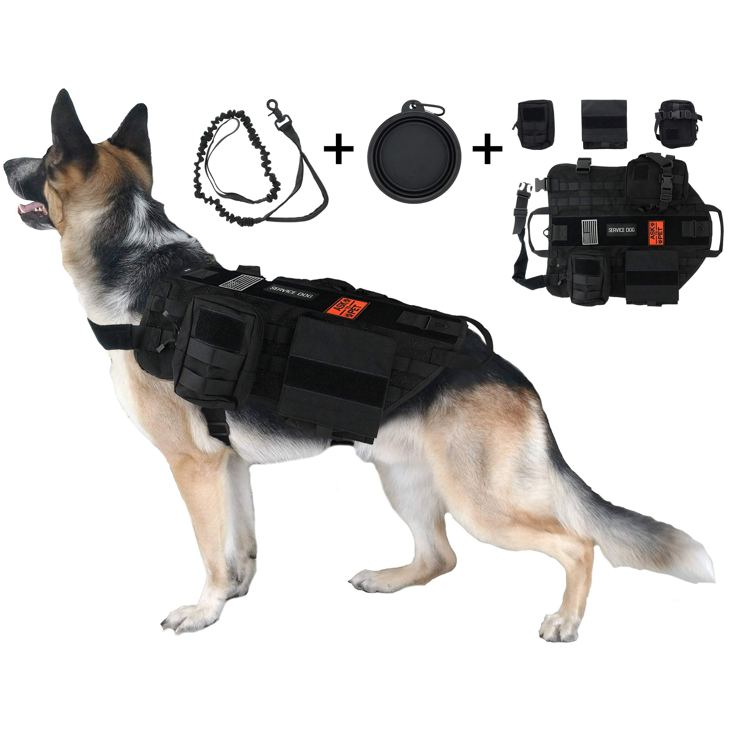 TCS Dog Tactical Harness (L) - 1000D Nylon Molle Vest Includes Leash | 3 Pouches | 3 Patches | Collapsible BPA Free Bowl by TCS