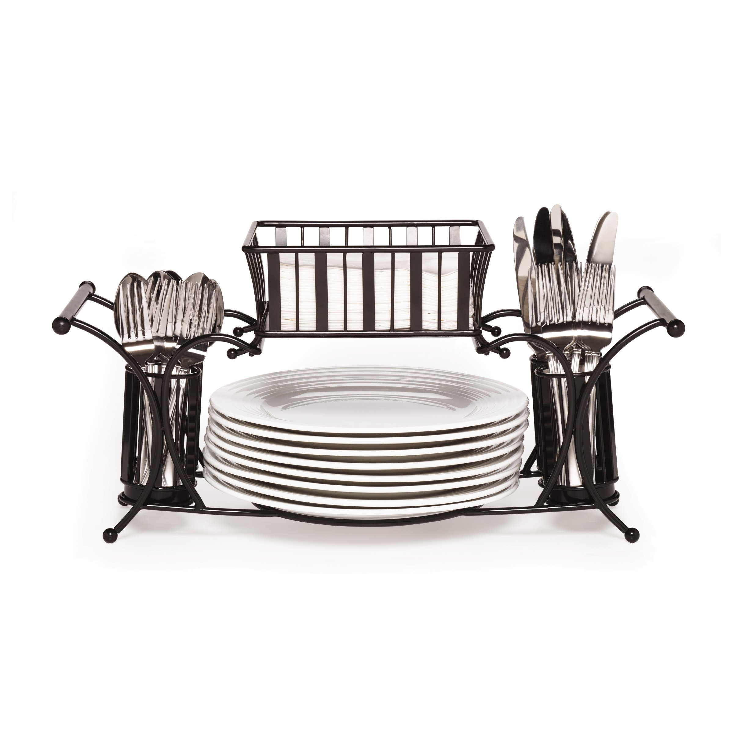 Gourmet Basics by Mikasa 5154842 Metal Hostess Flatware Napkin and Plate Tabletop Buffet Picnic Caddy, Band and Stripe by Gourmet Basics by Mikasa