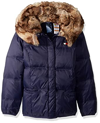 24b4d0af Tommy Hilfiger Girls' Adaptive Puffer Jacket with Magnetic Buttons and Faux  Fur Hood, evening