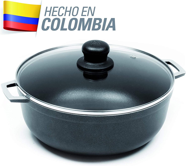 IMUSA USA GAU-80663 3.7Qt Black Nonstick Caldero with Glass Lid and Steam Vent (Dutch Oven), 3.7-Quarts,