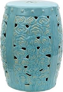 "Oriental Furniture 18"" Carved Clouds Porcelain Garden Stool"