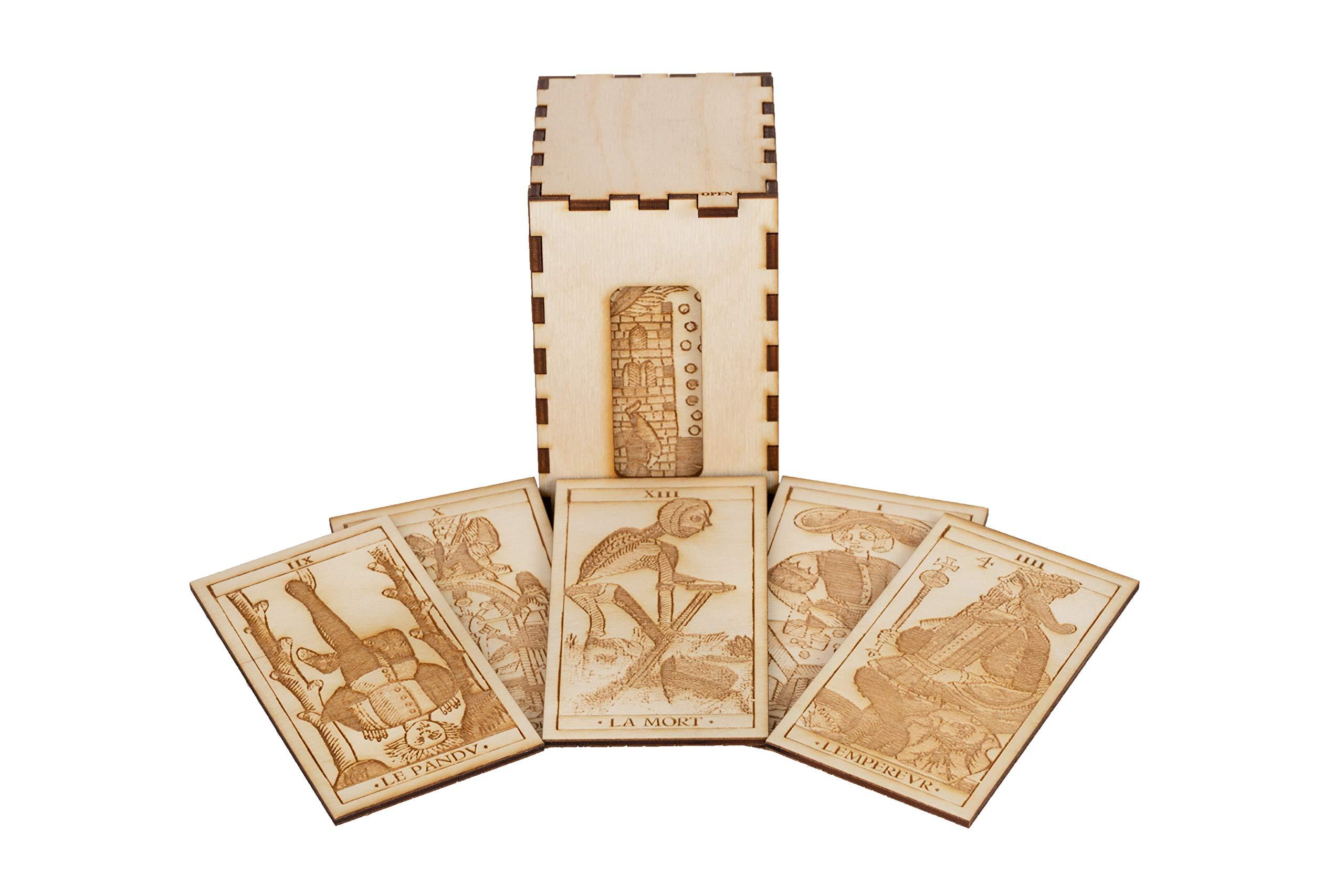 Wood Engraved Tarot Card Deck - Historically Accurate 17th Century Replica of Jean Dodal's Tarot De Marseilles Major Arcana, 22 Cards