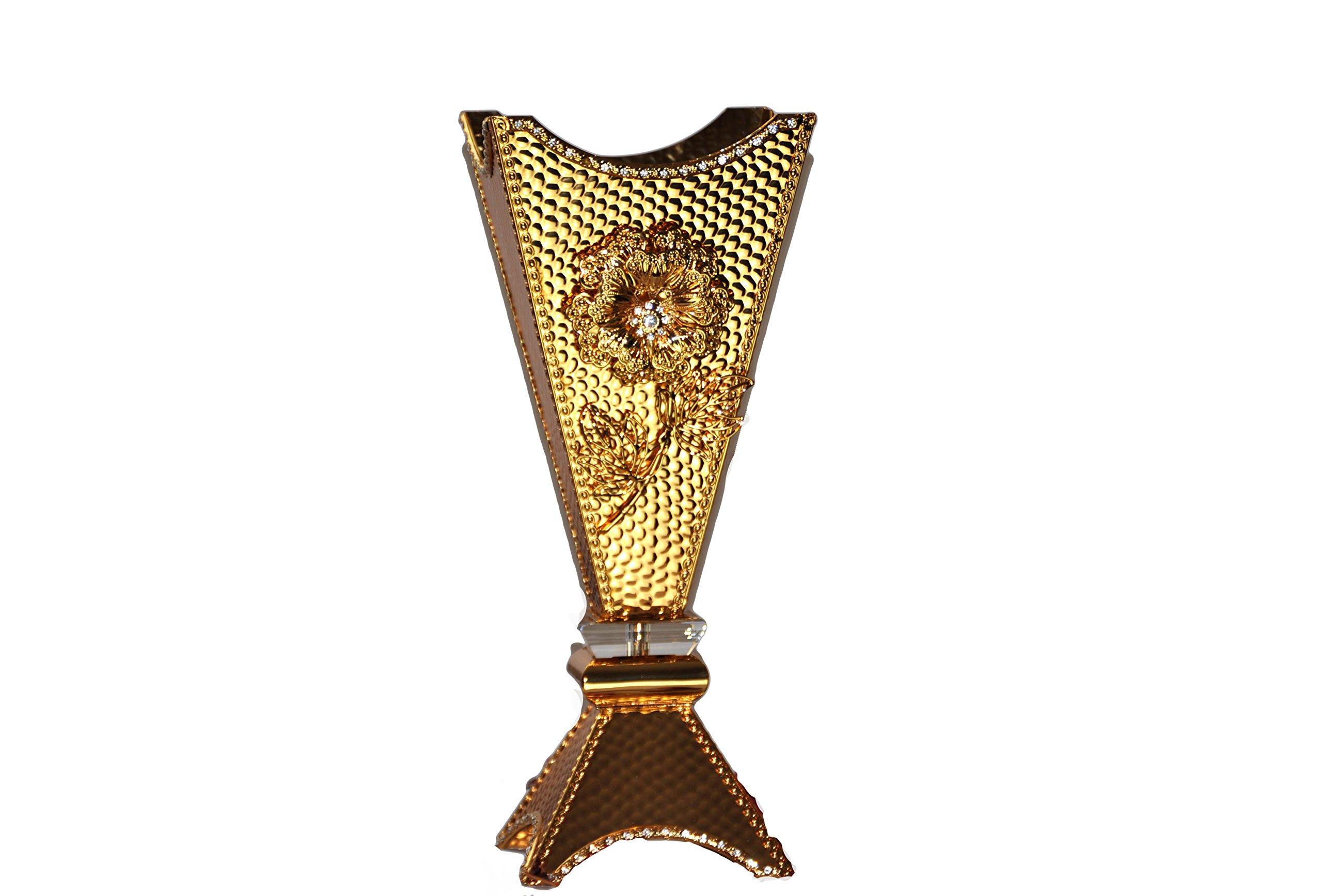 Arabia Incense/Bakhoor Burner (Mabkhara) -Oud Burner, Metal,Tray Inside 14 inch tall (Golden)